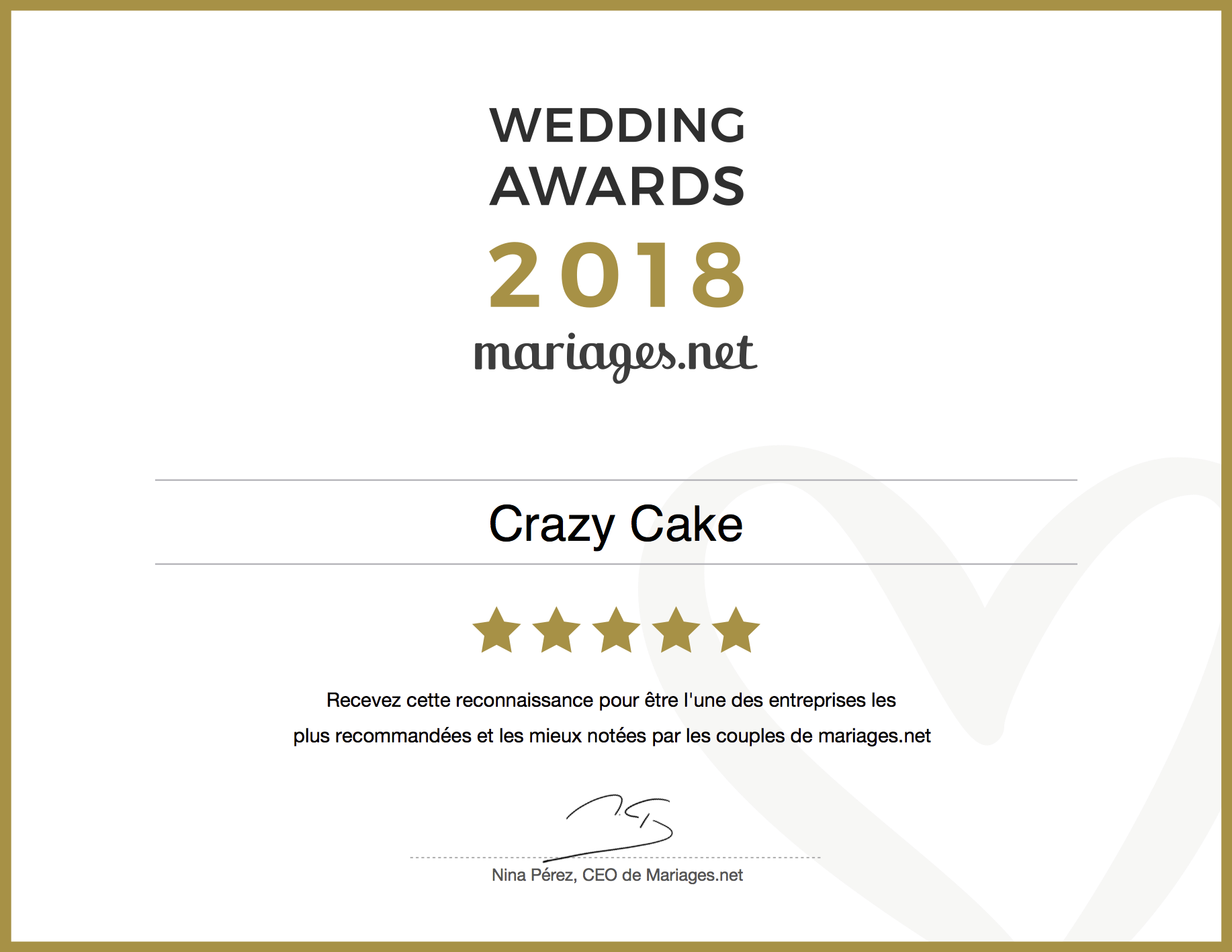 Wedding Awards 2018 - Bravo Crazy Cake